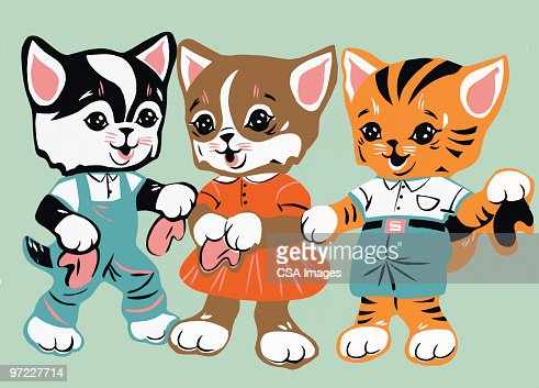 Three Baby Animals in Clothes : Stock Illustration