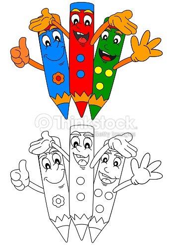 Lápices De Color De Tres Sonriente Para Colorear Books For Kids ...