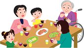 Three generation family having meal and sitting at table, high angle view