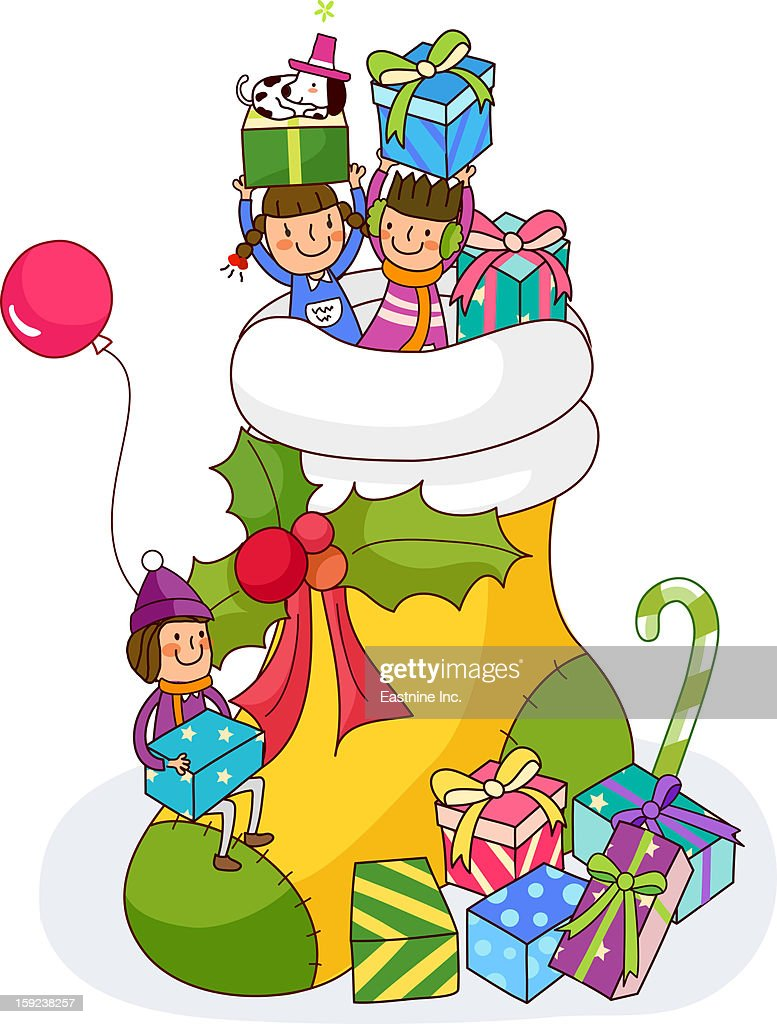 Three girls holding Christmas presents in a Christmas stocking : Stock Illustration