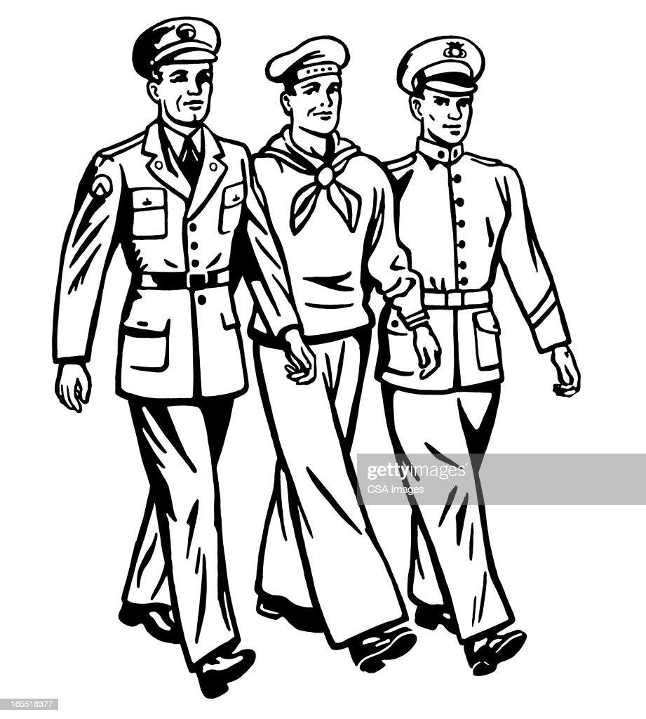 Three Military Men Walking : Stock Illustration