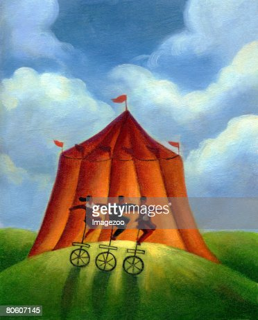 Three people on unicycles infront of a circus tent : Stock Illustration