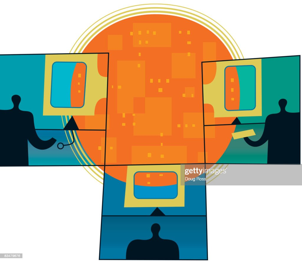 Three silhouetted men using computers,  comprising windows on data world : Vector Art