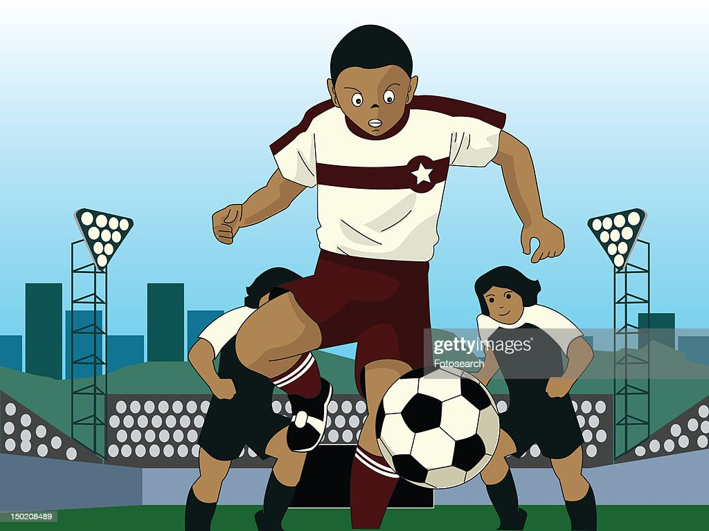 Three young boys playing youth soccer : Stock Illustration