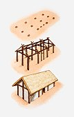 Three-step illustration of approximate reconstruction of ancient wattle-and-daub house, based on wooden post holes in the ground