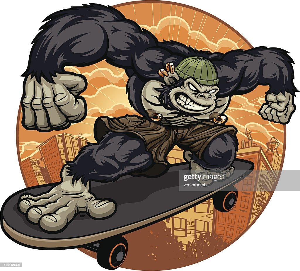Thug Monkey Version III - Skateboard Escape : Vector Art