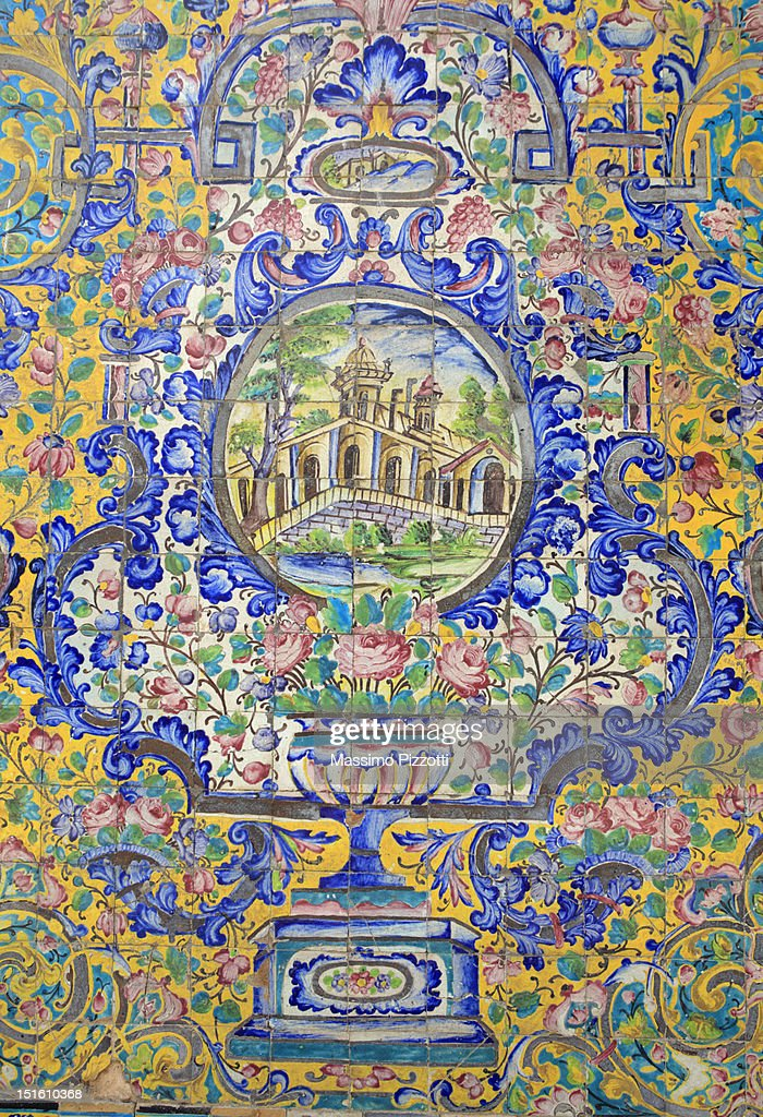 Tile decoration at Golestan Palace, Tehran : Ilustração de stock