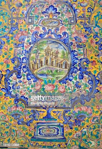 Tile decoration at Golestan Palace, Tehran : ストックイラストレーション