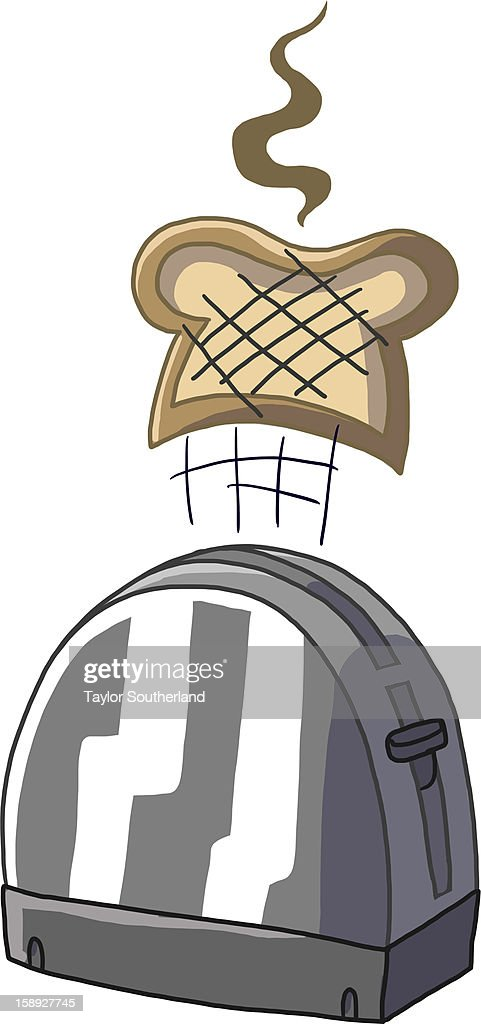 Toast popping out of a toaster oven : Stock Illustration