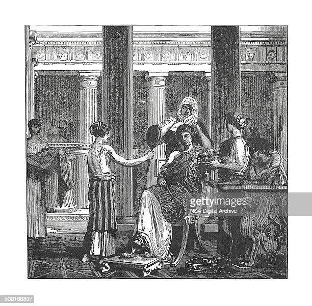 Toilette of a roman lady of rank (antique engraving)