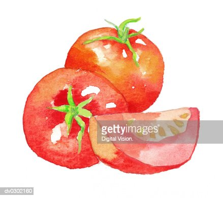 Tomatoes and Tomato Wedge : Stock-Illustration