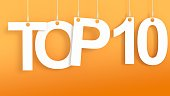 Top 10 hanging letters over orange background