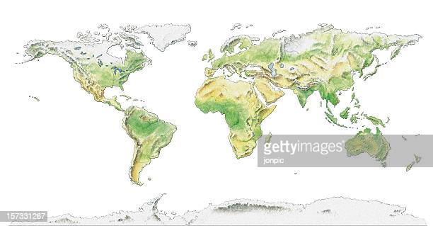 Topographical map of the World, water colour illustration