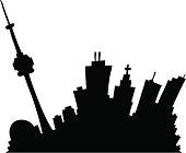 'Cartoon silhouette of downtown Toronto, Canada.'