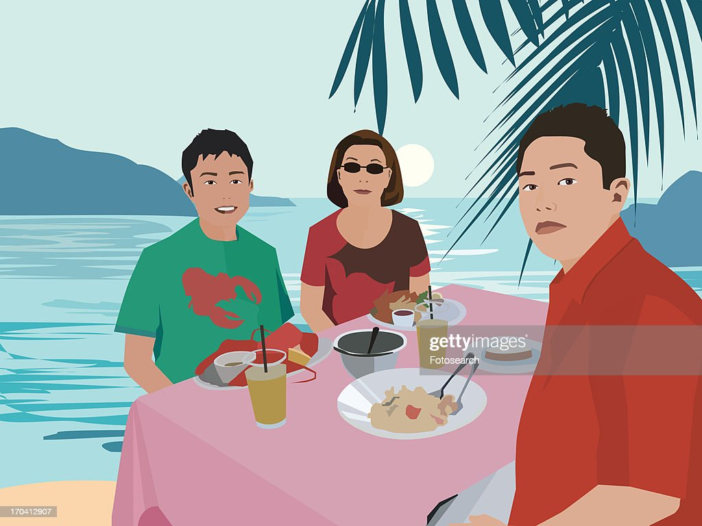 Tourists having breakfast by beach : Stock Illustration