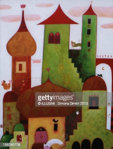 Towers in the clouds : Stock Illustration