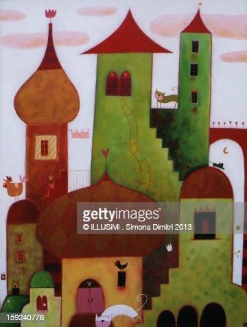 Towers in the clouds : Ilustración de stock