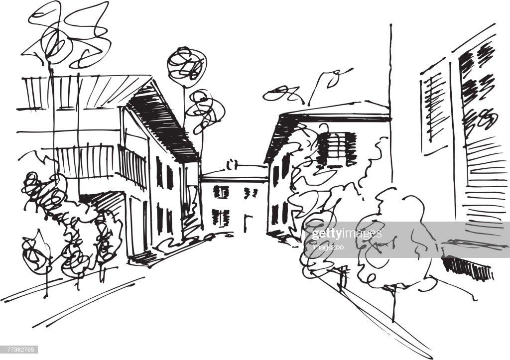 town scene b&w : Vector Art