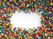 Pile of colored toy blocks frame with place for your content. 3D Rendering