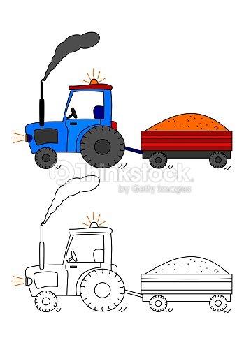 Tracteur avec rev tementlivre de coloriage pour les enfants illustration thinkstock - Dessin anime avec tracteur ...