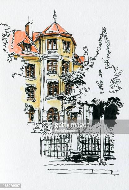 Traditional House Munich Watercolor Ink Sketch