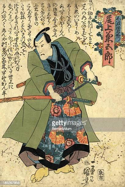 Kuniyoshi imprimé à la planche de bois traditionnel japonais de Acteur