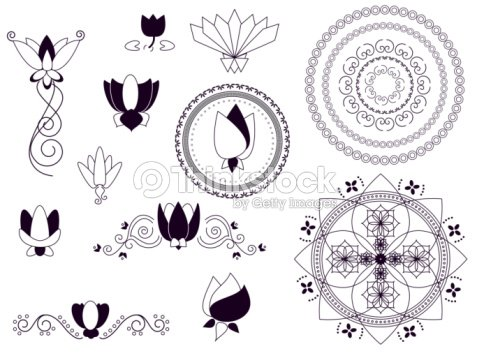 traditional lotus designs stock illustration