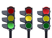 Traffic light sequence . Red, yellow, green lights - Go wait stop