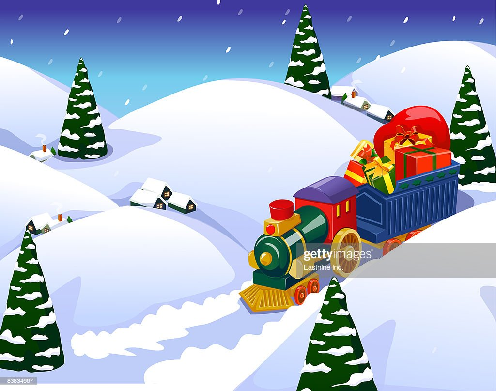 Train with Christmas gifts amid snowcapped hills : Stock Illustration