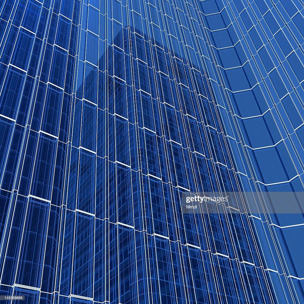 Transparent wireframe building : Stock Illustration