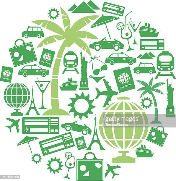 Icono de montaje de viajes