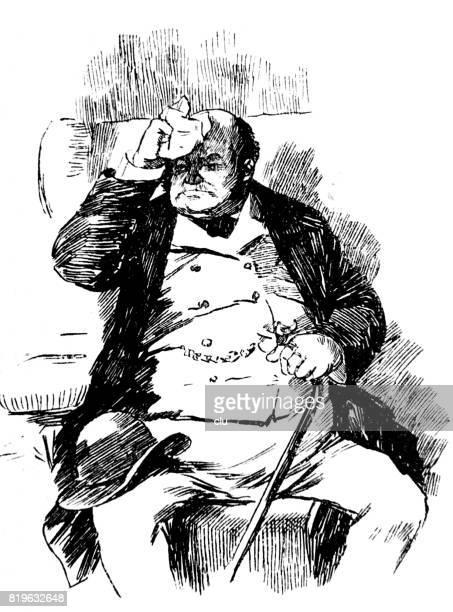 Reizen per spoor: oude man zit in de trein compartiment gaat roesten zweten en zakdoek te houden aan zijn voorhoofd