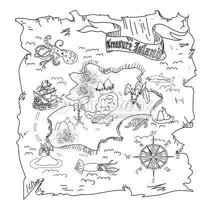 Isola Del Tesoro Mappa Pagina Da Colorare Per Bambini