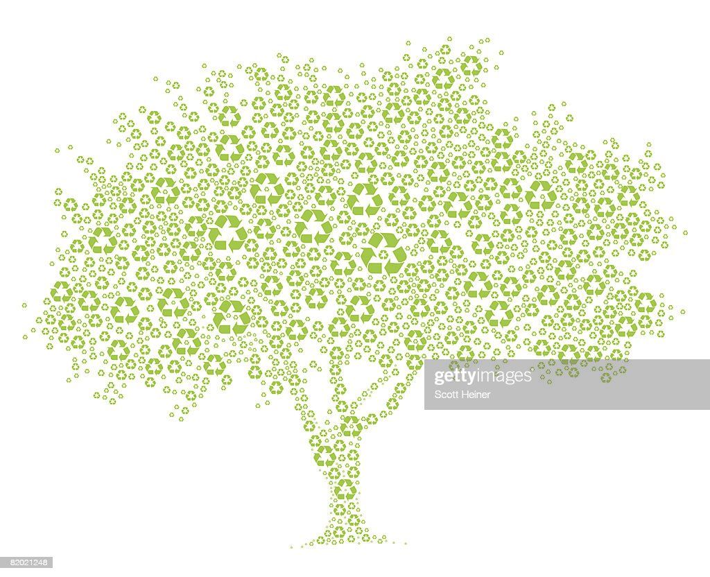 Tree composed of recycle symbols. : Stock Illustration