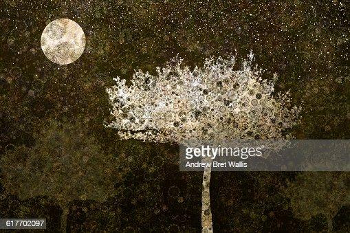 Tree illuminated at night by a full moon : Stock Illustration
