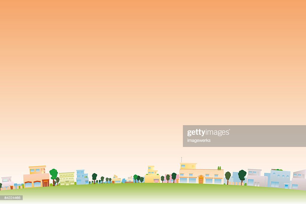 Trees and buildings in town at dusk  : Stock Illustration