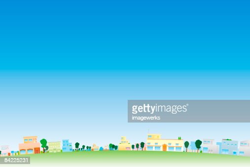 Trees and buildings in town  : Stock Illustration