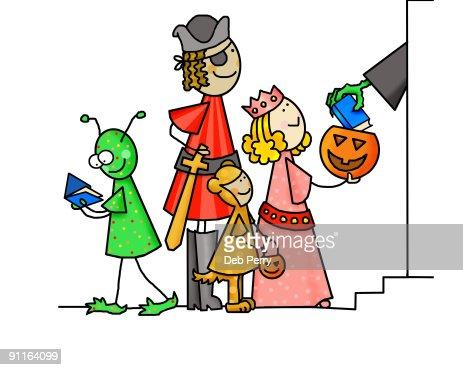 Image result for illustration of kids trick or treating