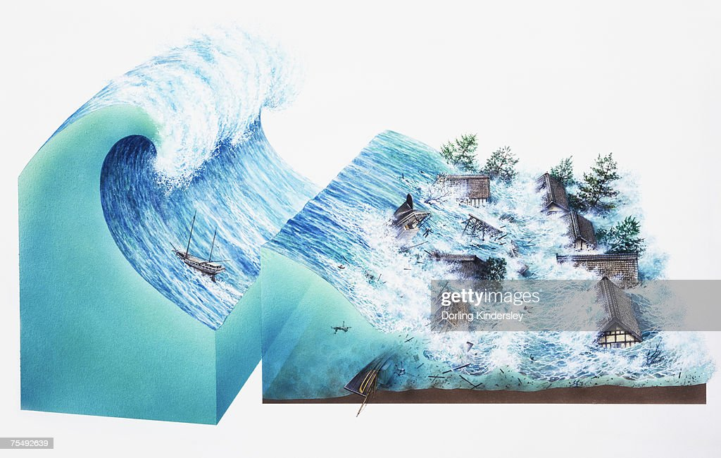 Tsunami, series of waves created by body of water, such as ocean, rapidly displaced on massive scale, causing devastation on land cross-section : Stock Illustration