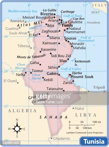 Tunisia Country Map Vector Art Getty Images - Tunisia country political map