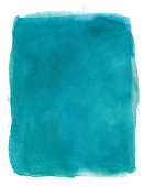 Turquoise/Teal abstract watercolor ink background isolated with white edges with ink splashes
