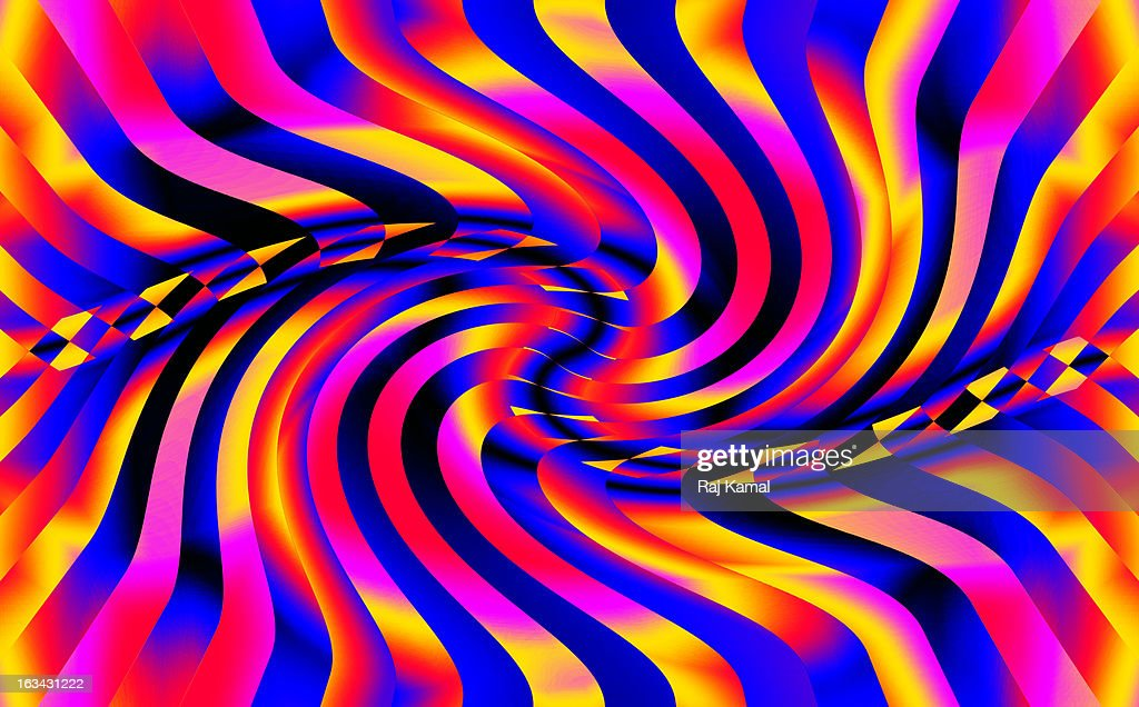 Twisted Multi-Coloured Stripes Abstract Design : Stock Illustration