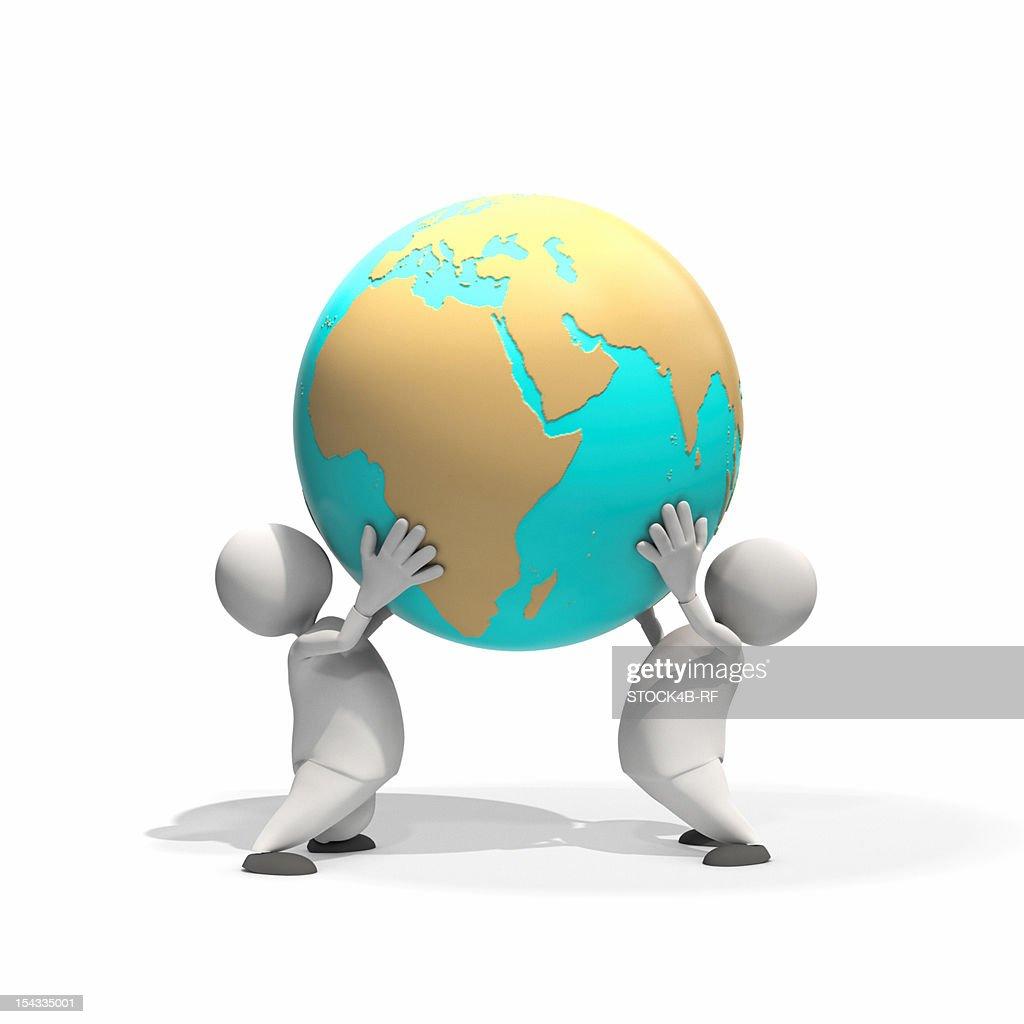Two anthropomorphic figures lifting globe, CGI : Stock Illustration