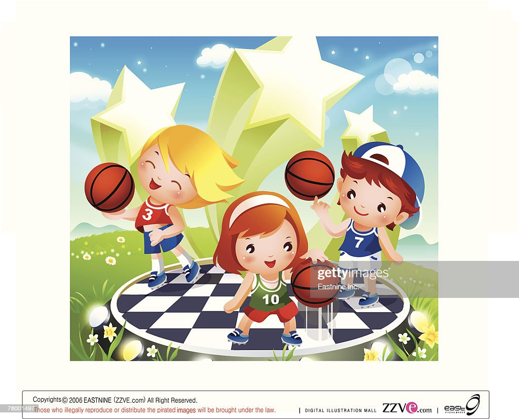 two boys and a playing basketball vector art getty images