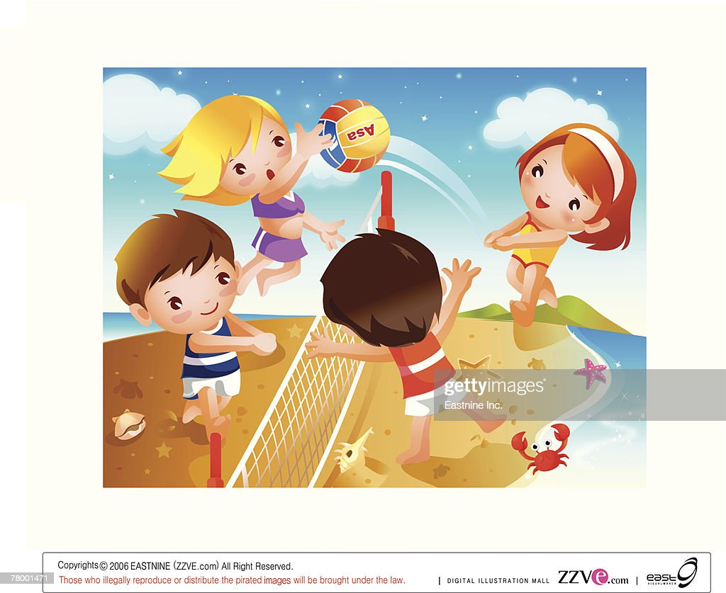 Two boys and two girls playing beach volleyball : Vector Art