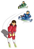 Two boys riding on sleds and a girl skiing, front view, white background, cut out