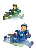 Two boys riding on sleds, front view, white background, cut out
