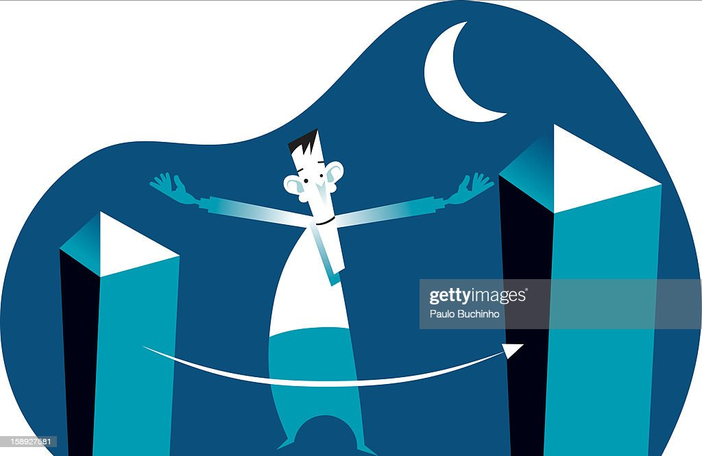 Two buildings arms width apart : Stock Illustration