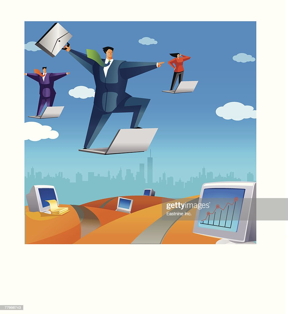 Two businessmen and a businesswoman flying on laptops : Vector Art