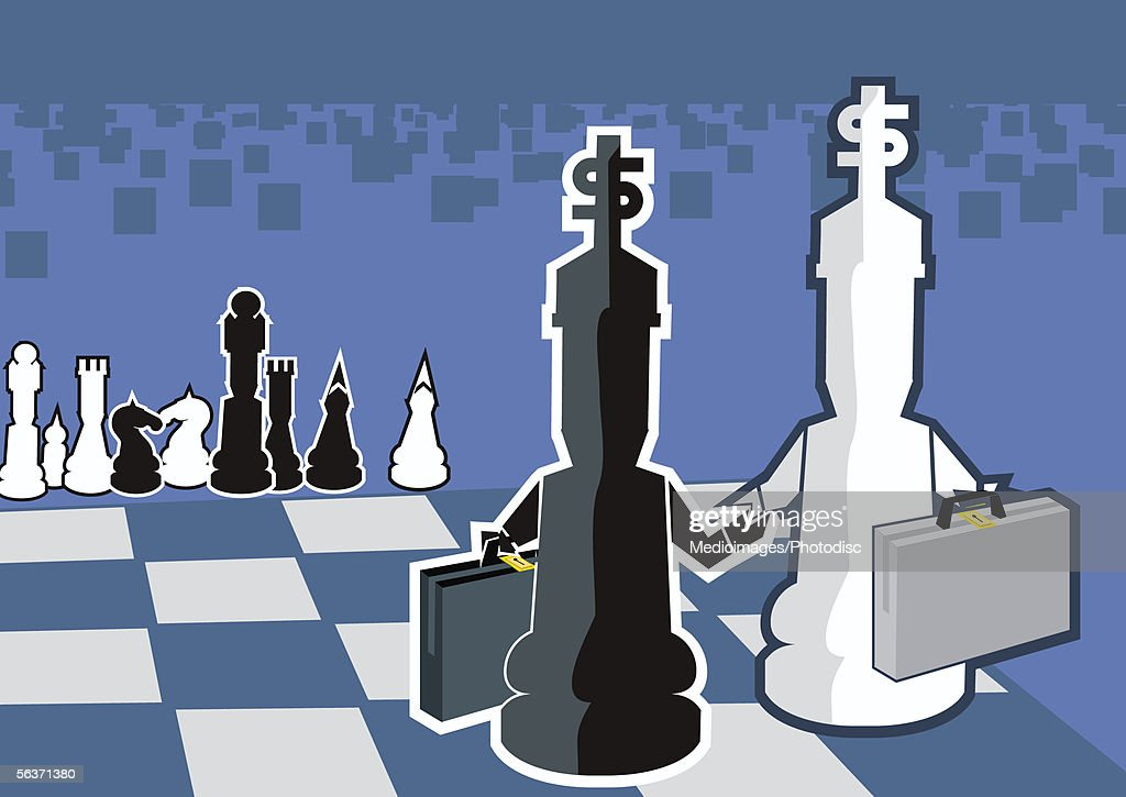 Two chess pieces shaking hands : Stock Illustration